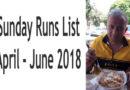 Runs List: Sundays April to June 2018